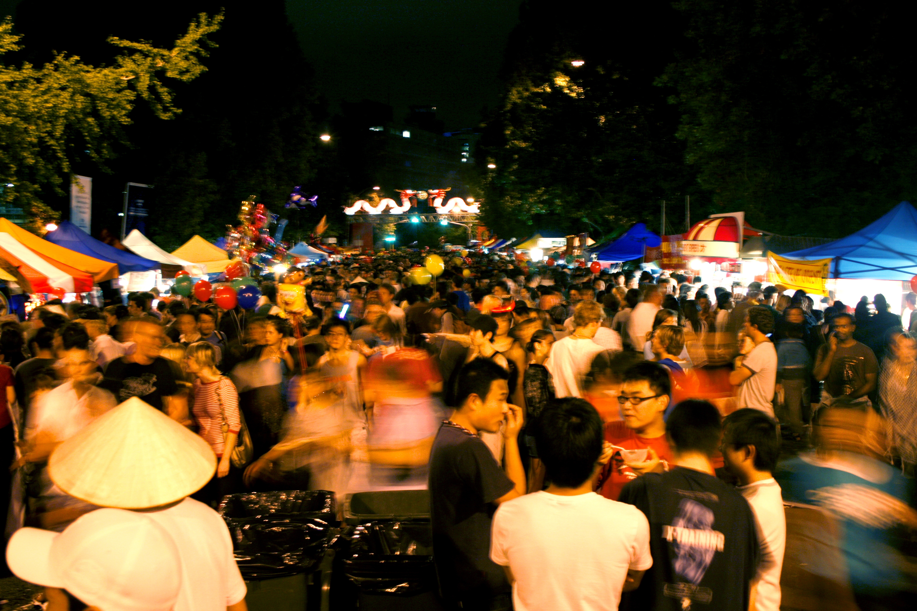 crowd of people at night market