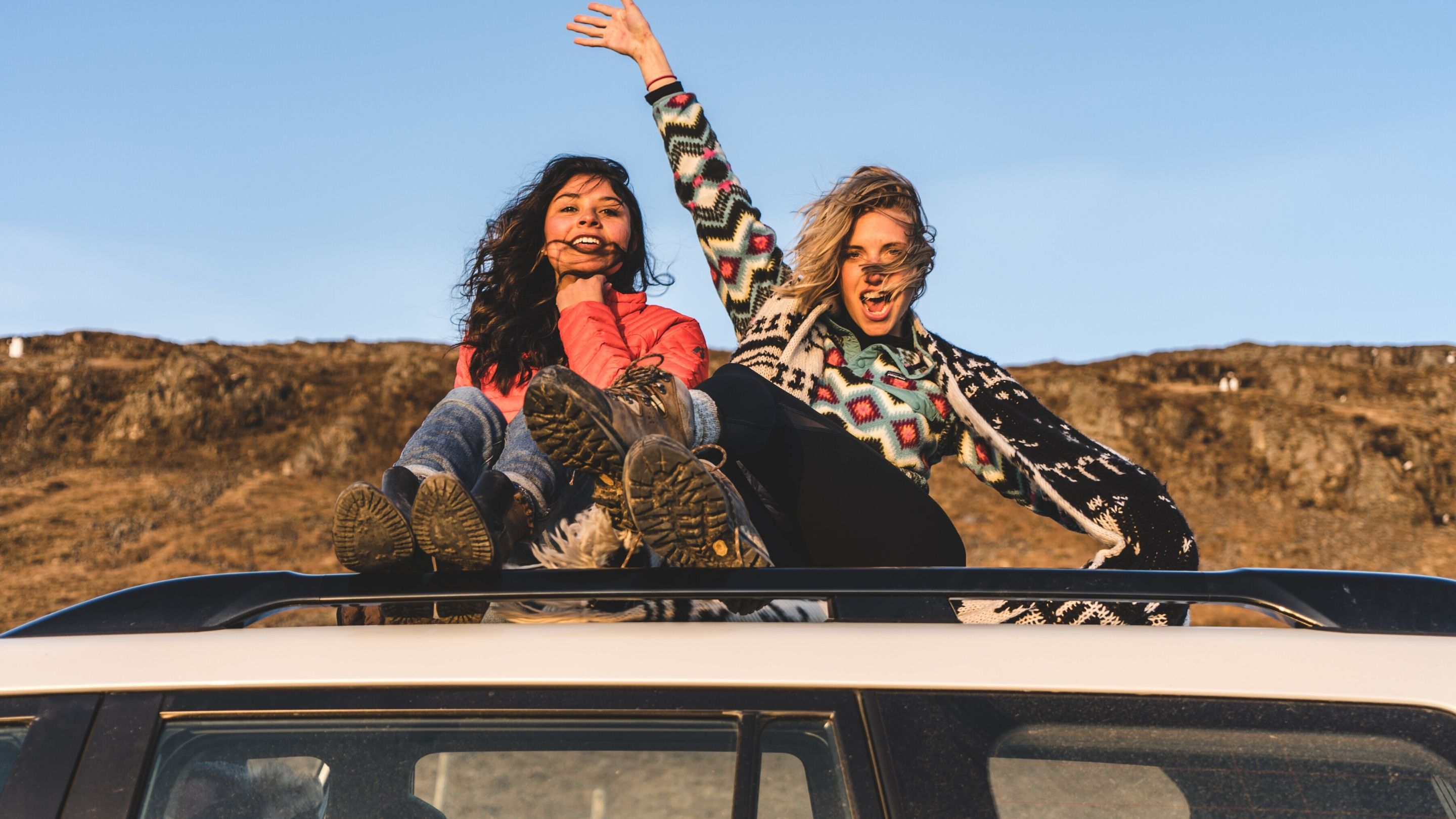 Two women on a road trip
